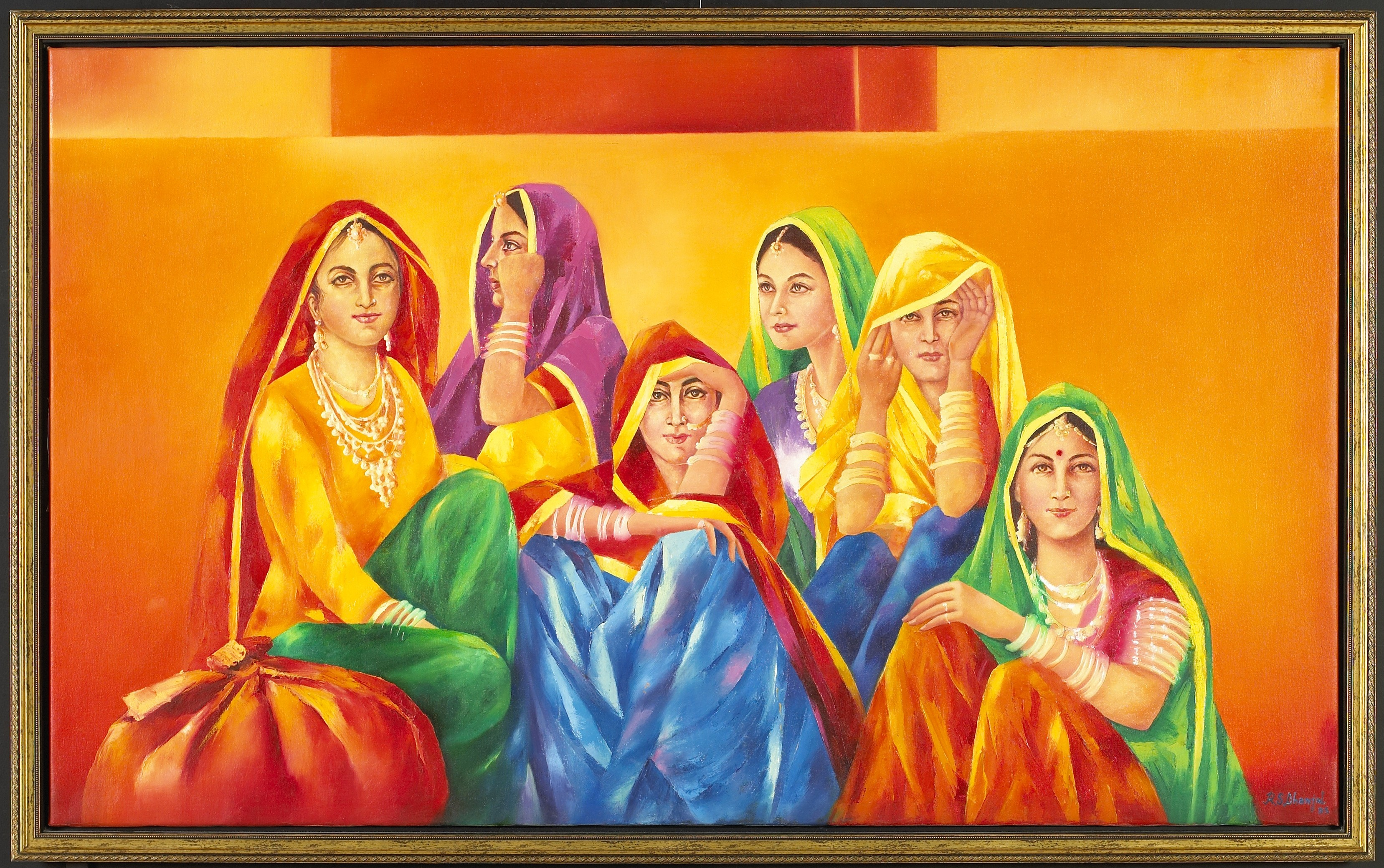 Rajasthani Art 6 Ladies 3x5ft Rustic Gold Frame Museum Style